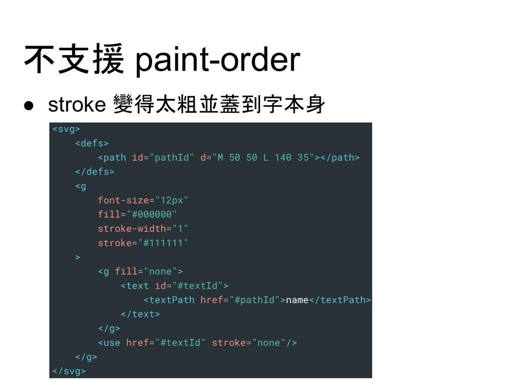 不支援 paint-order ● stroke 變得太粗並蓋到字本身