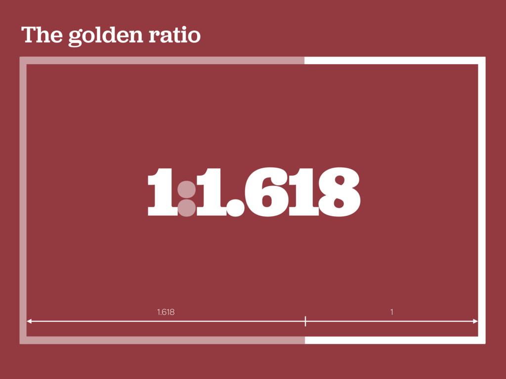 The golden ratio 1:1.618 1.618 1