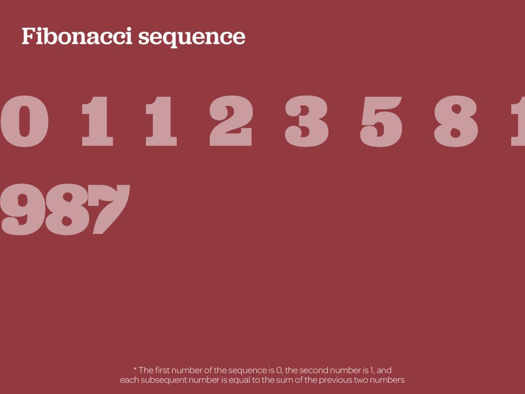 Fibonacci sequence 0 1 1 2 3 5 8 1 987 * The fir...