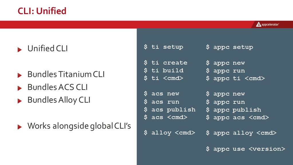 CLI: Unified $ ti setup $ ti create $ ti build...