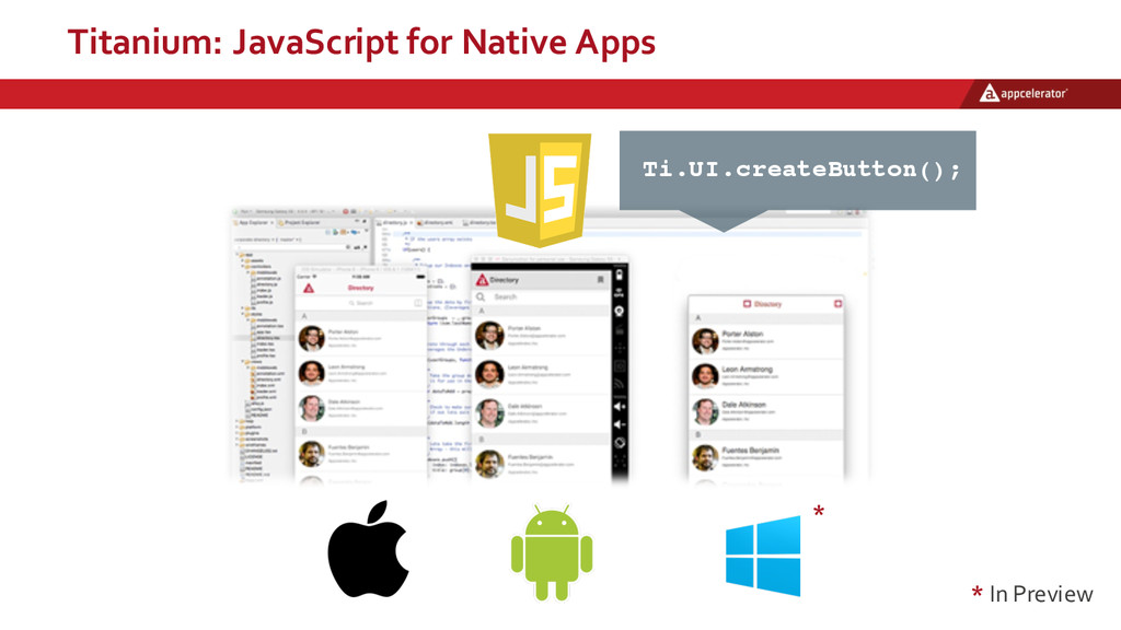 Titanium:  JavaScript  for  Native  Apps * * In...
