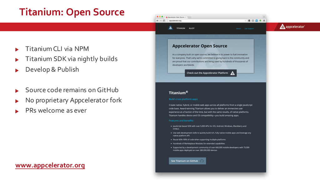 Titanium:  Open  Source Titanium  CLI  via  NPM...