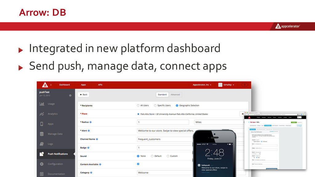 Arrow: DB Integrated in new platform dashb...