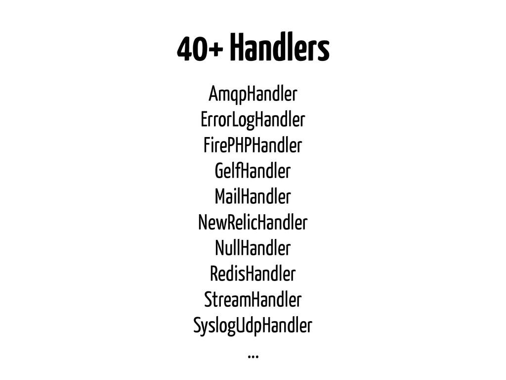 40+ Handlers AmqpHandler ErrorLogHandler FirePH...