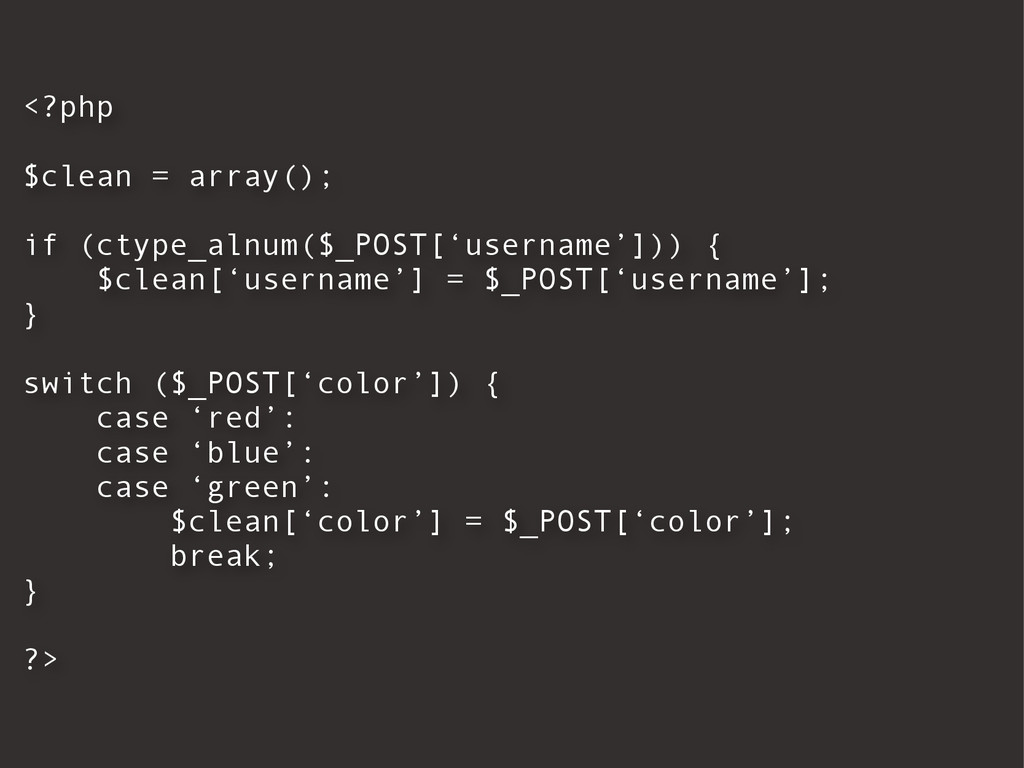 <?php $clean = array(); if (ctype_alnum($_POST[...