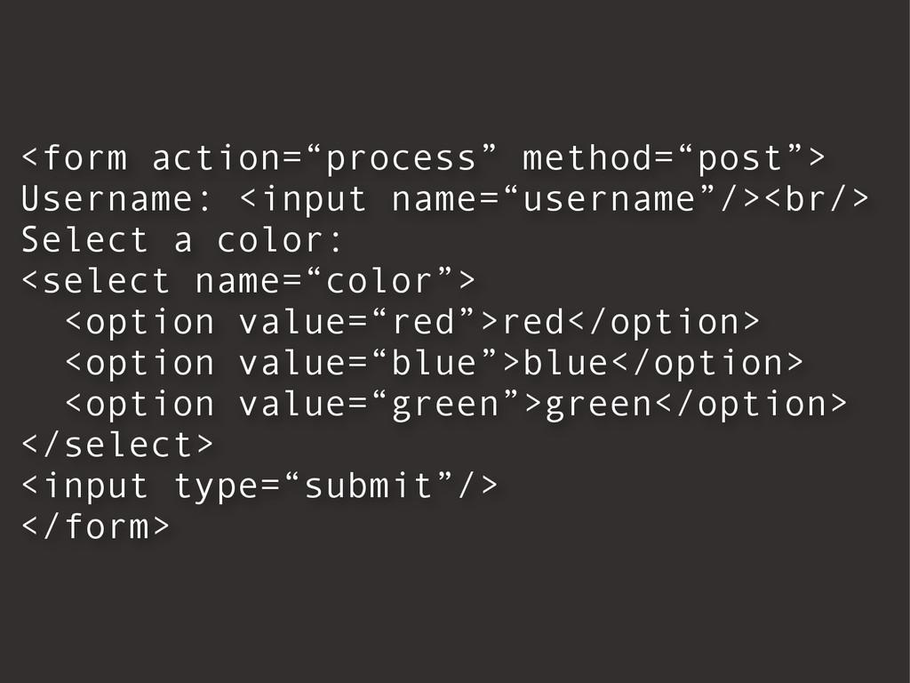 "<form action=""process"" method=""post""> Username:..."
