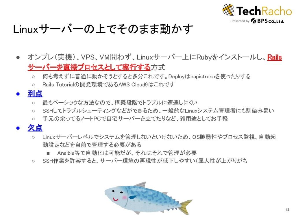 Linuxサーバーの上でそのまま動かす ● オンプレ(実機)、VPS、VM問わず、Linux...