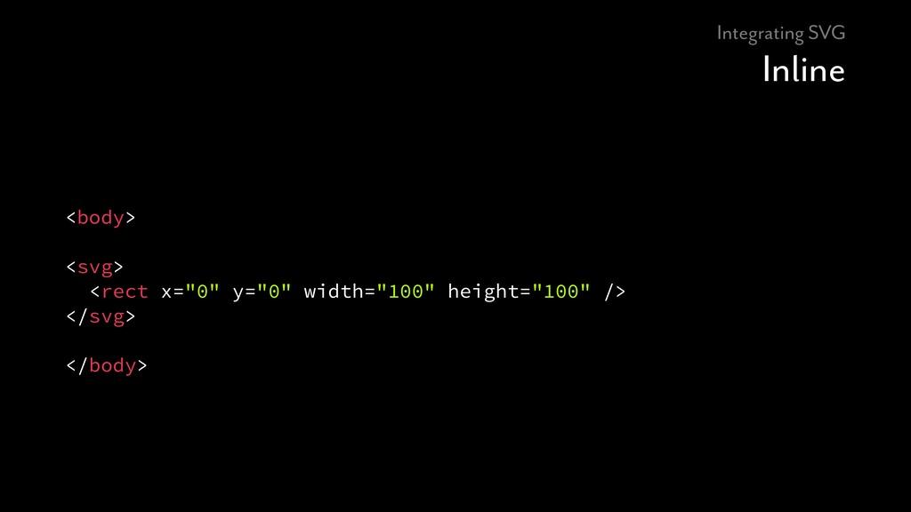 "Integrating SVG Inline <body> <svg> <rect x=""0""..."