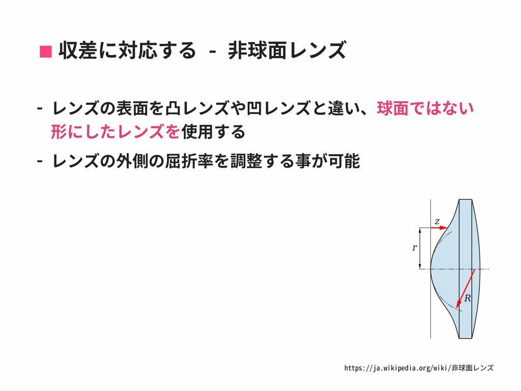 収差に対応する - ⾮球⾯レンズ - レンズの表⾯を凸レンズや凹レンズと違い、球⾯ではない 形...