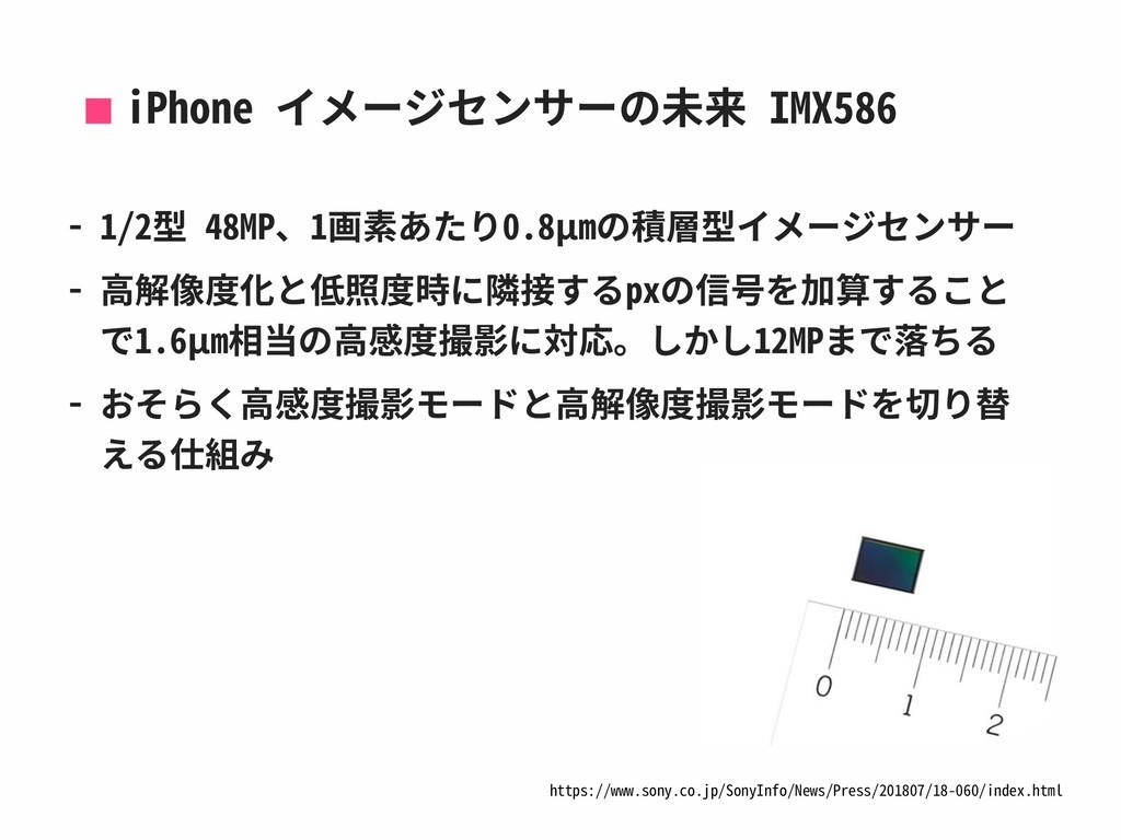 iPhone イメージセンサーの未来 IMX586 - 1/2型 48MP、1画素あたり0.8...