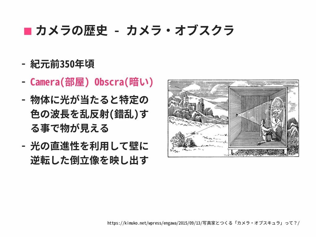 カメラの歴史 - カメラ‧オブスクラ - 紀元前350年頃 - Camera(部屋) Obsc...