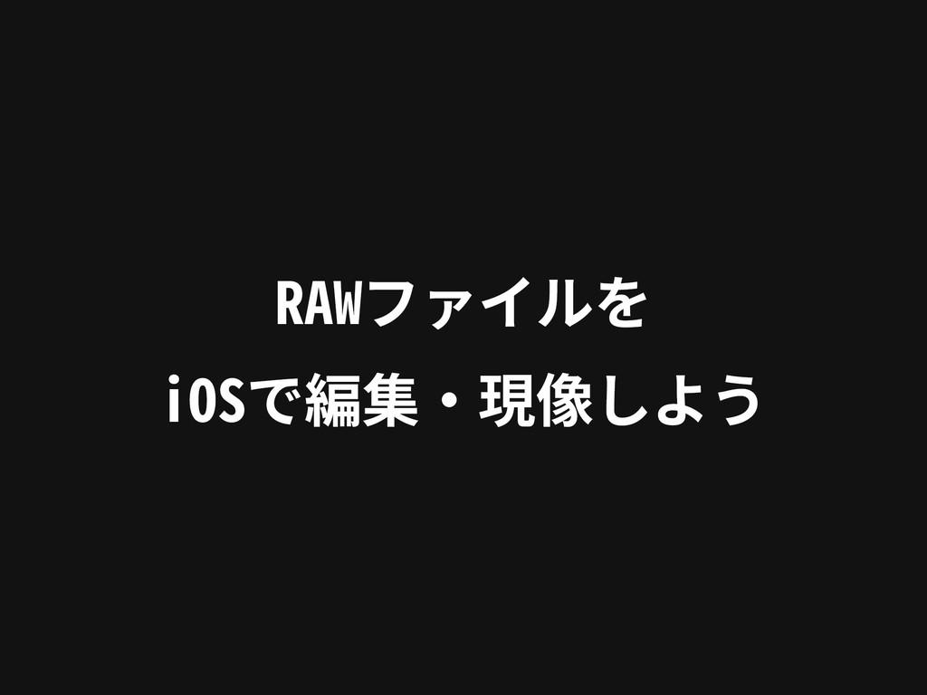 RAWファイルを iOSで編集‧現像しよう