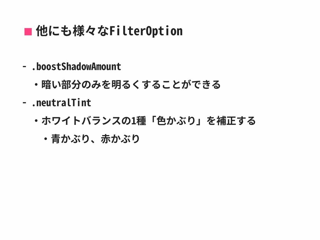 他にも様々なFilterOption - .boostShadowAmount ‧暗い部分のみ...