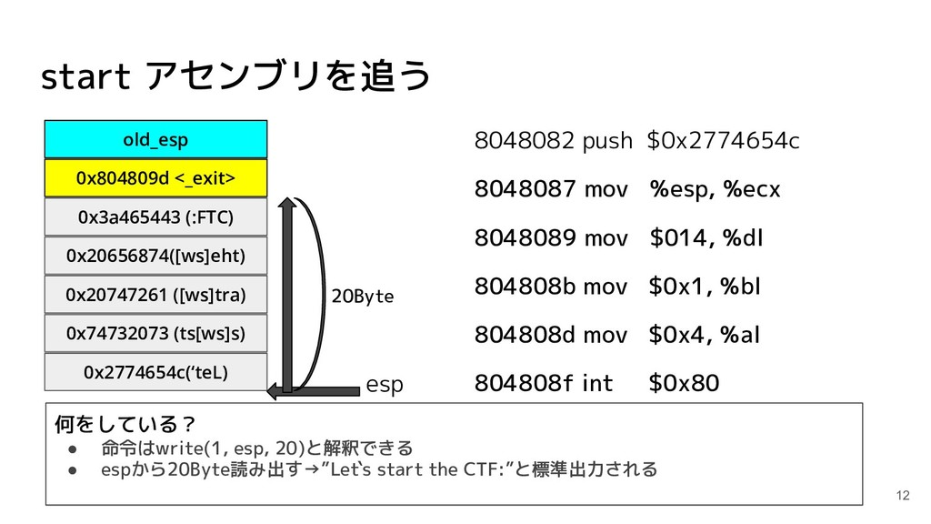 start アセンブリを追う 8048082 push $0x2774654c 8048087...