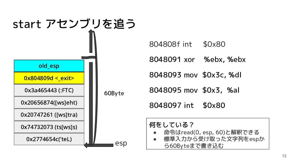 start アセンブリを追う 804808f int $0x80 8048091 xor %e...
