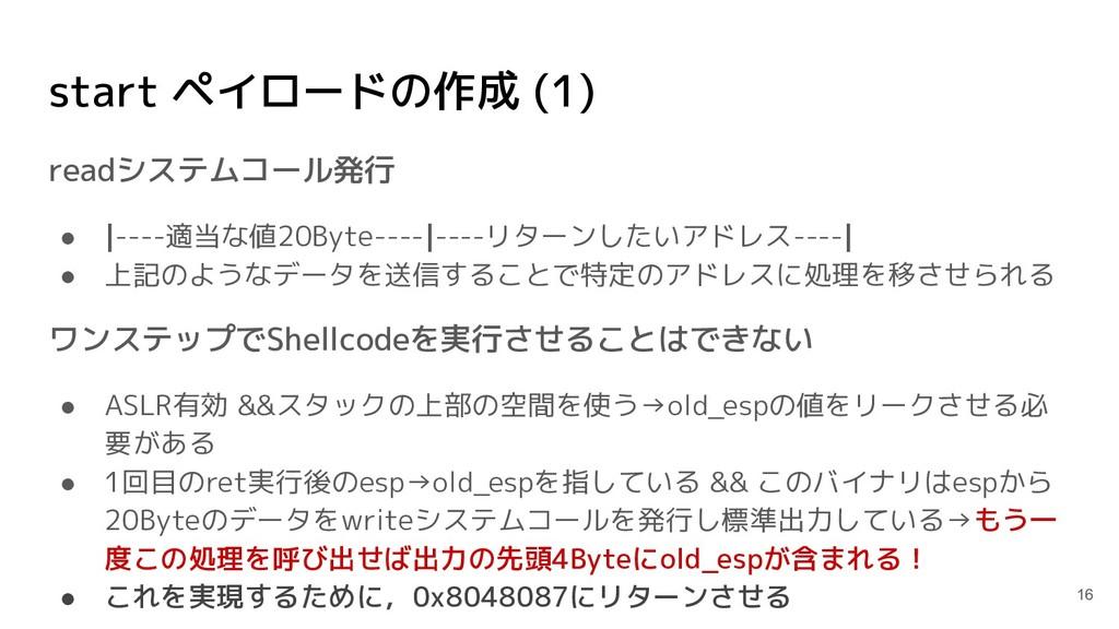 start ペイロードの作成 (1) readシステムコール発行 ● |----適当な値20B...
