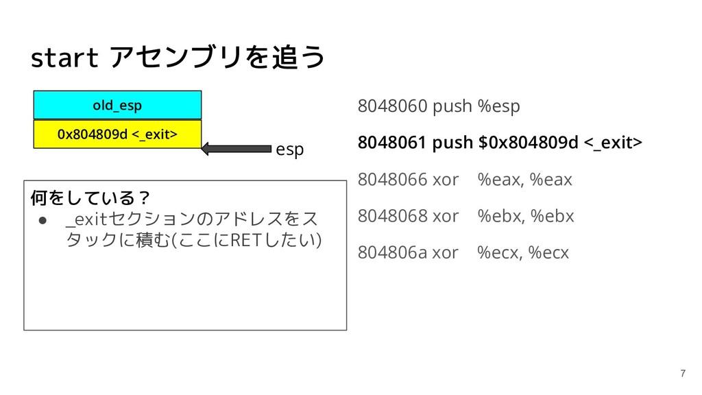 start アセンブリを追う 8048060 push %esp 8048061 push $...