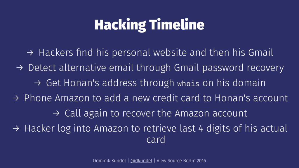 Hacking Timeline → Hackers find his personal web...