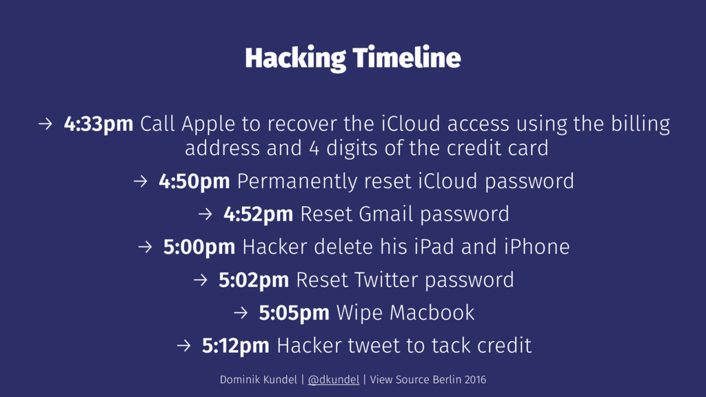 Hacking Timeline → 4:33pm Call Apple to recover...