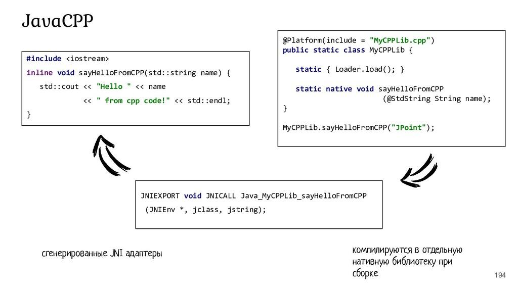 194 JavaCPP #include <iostream> inline void say...