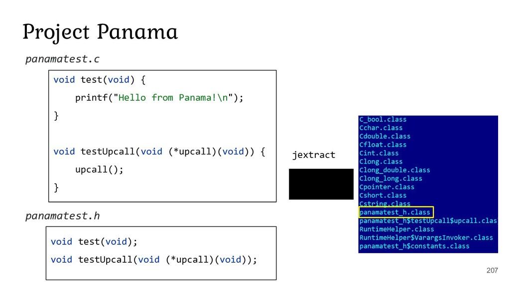 "Project Panama void test(void) { printf(""Hello ..."