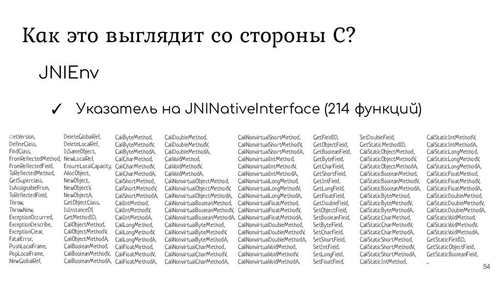Как это выглядит со стороны С? 54 JNIEnv ✓ Указ...