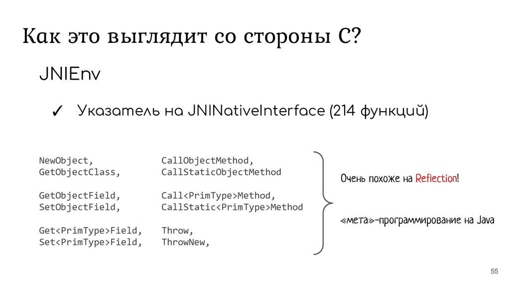 Как это выглядит со стороны С? 55 JNIEnv ✓ Указ...