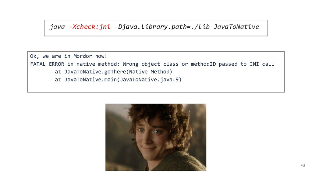 76 java -Xcheck:jni -Djava.library.path=./lib J...