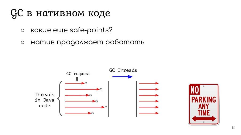 84 Threads in Java code GC Threads GC request G...