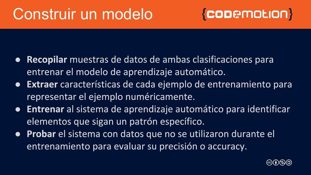 Construir un modelo ● ● ● ●