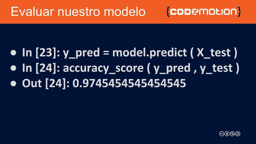 Evaluar nuestro modelo ● ● ●