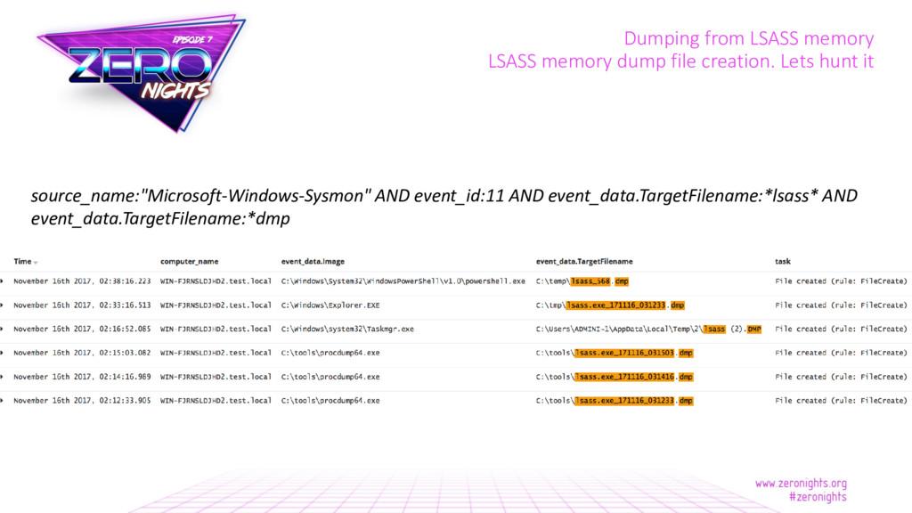 Dumping from LSASS memory LSASS memory dump fil...