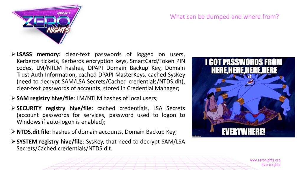 LSASS memory: clear-text passwords of logged o...