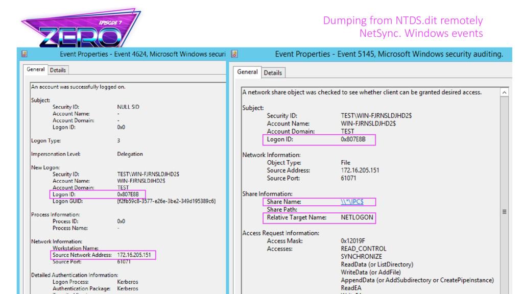 Dumping from NTDS.dit remotely NetSync. Windows...
