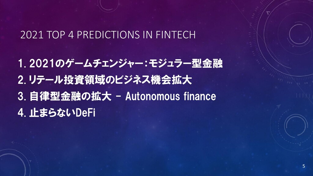 2021 TOP 4 PREDICTIONS IN FINTECH 1. 2021のゲームチェ...