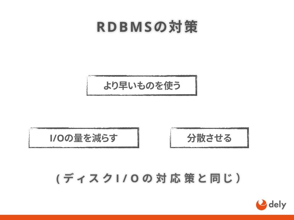 RDBMSの対策 ( デ ィ ス ク I / O の 対 応 策 と 同 じ ) より早いもの...