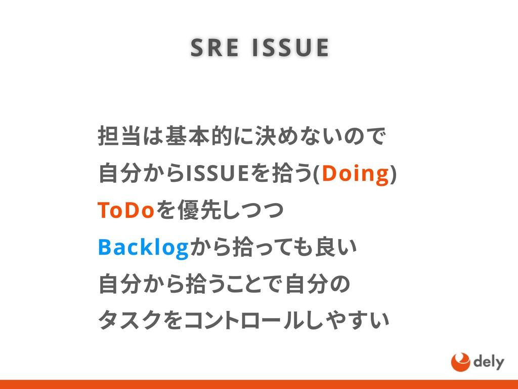 担当は基本的に決めないので 自分からISSUEを拾う(Doing) ToDoを優先しつつ Ba...