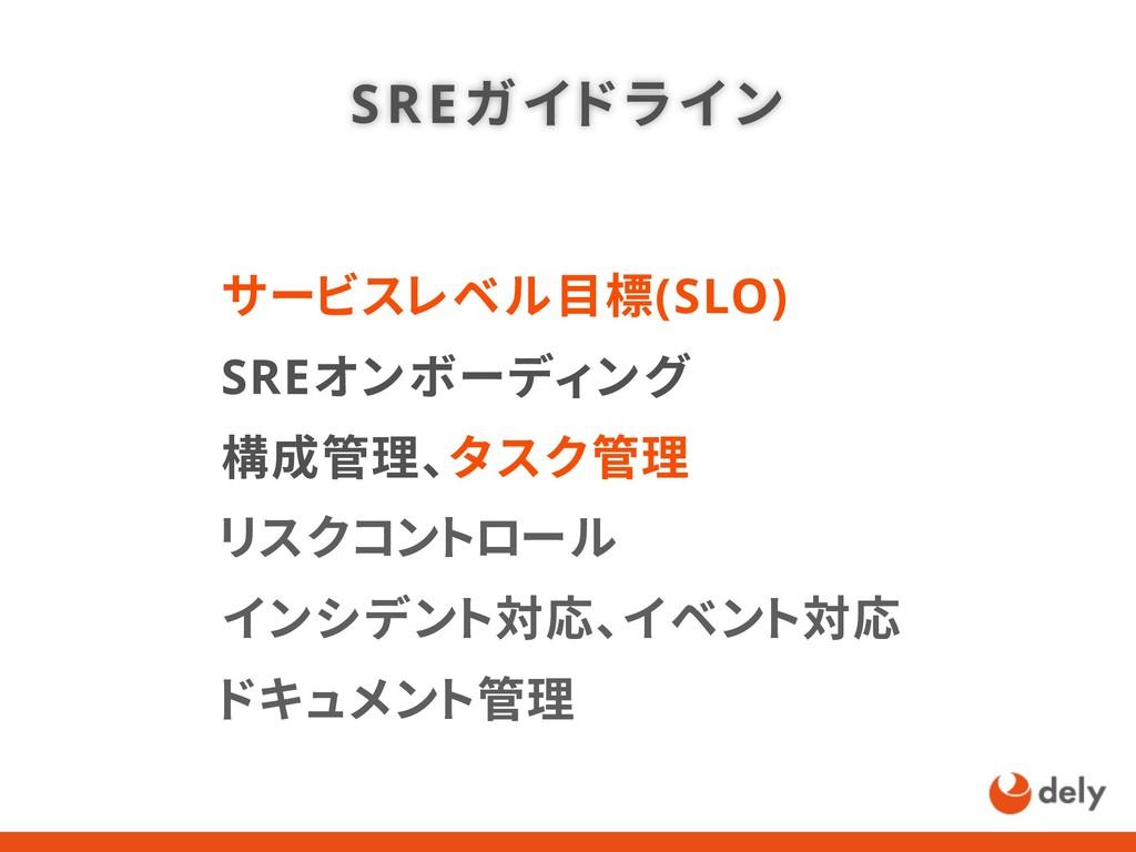 SREガイドライン サービスレベル目標(SLO) SREオンボーディング 構成管理、タスク管理...