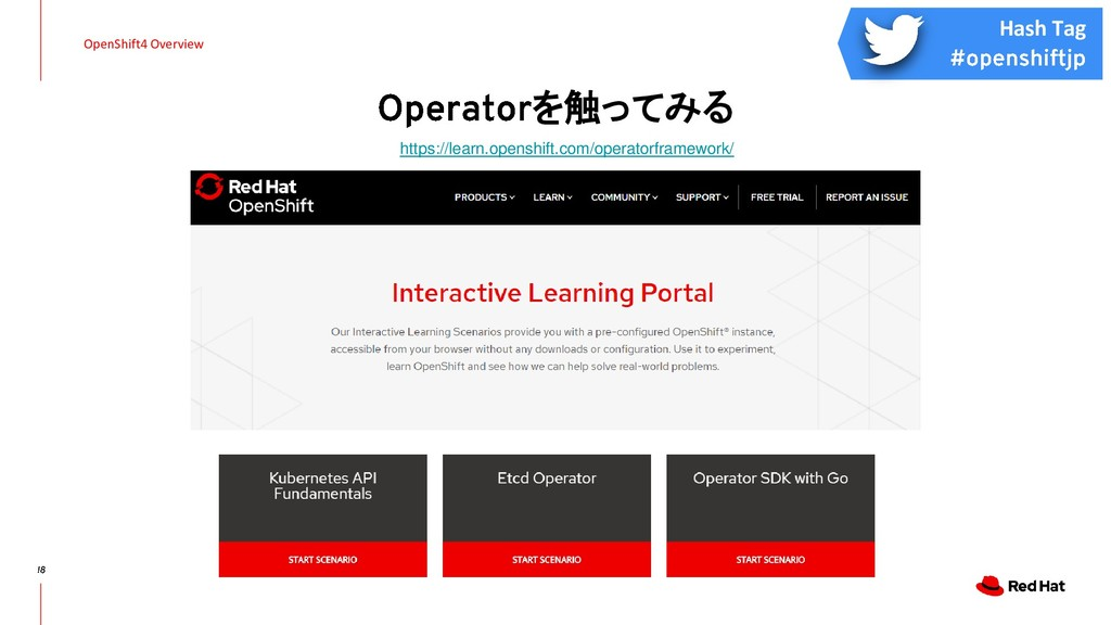 を触ってみる OpenShift4 Overview https://learn.opensh...