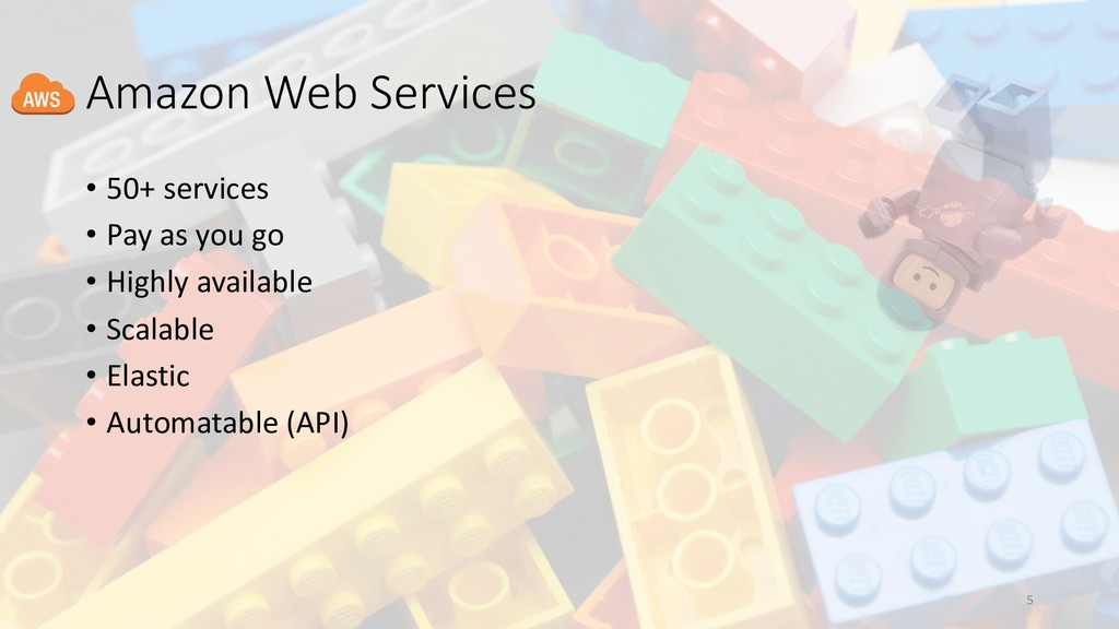 Amazon Web Services • 50+ services • Pay as you...