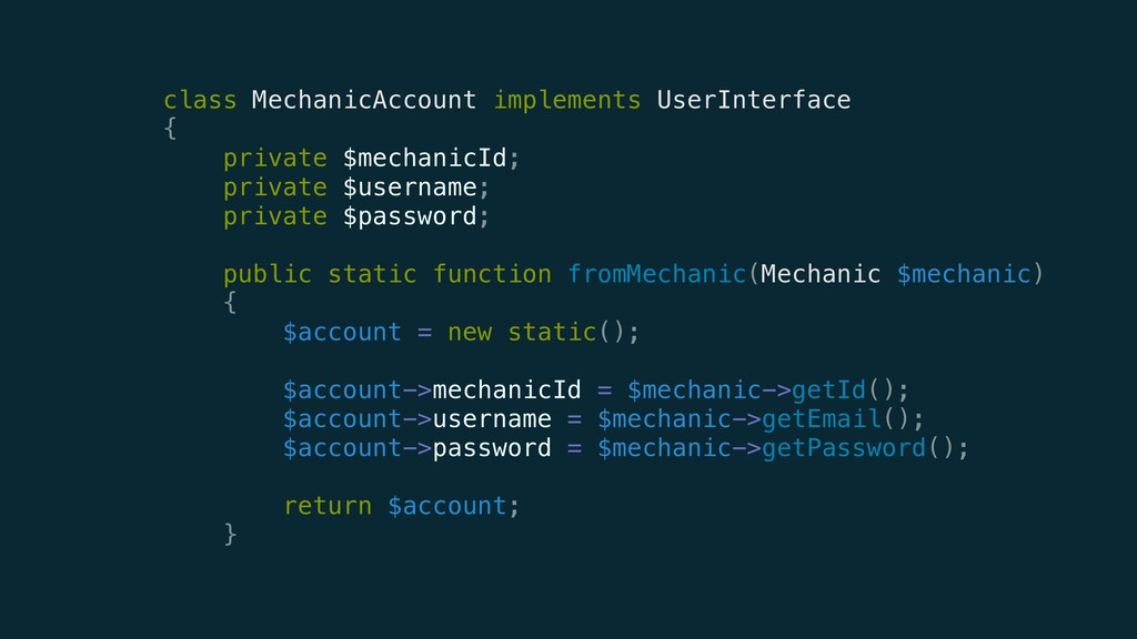 class MechanicAccount implements UserInterface...