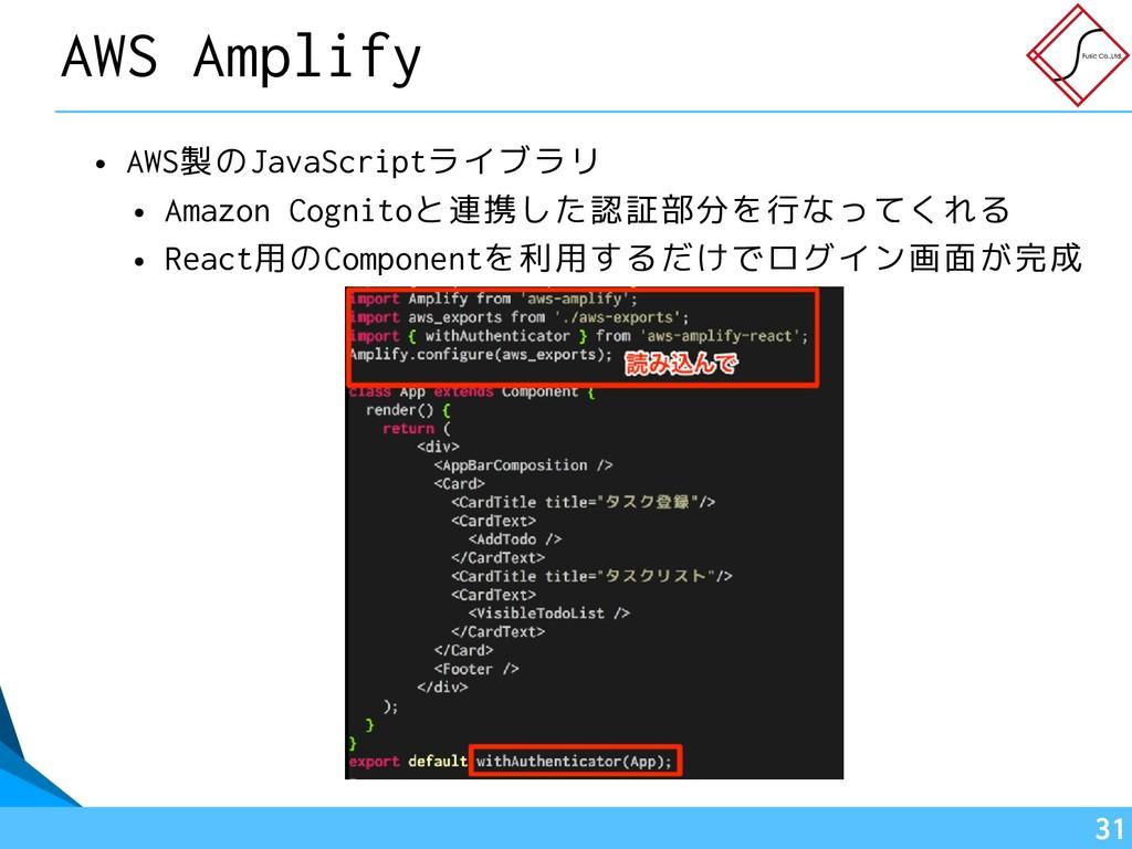 • AWS製のJavaScriptライブラリ • Amazon Cognitoと連携した認証部...
