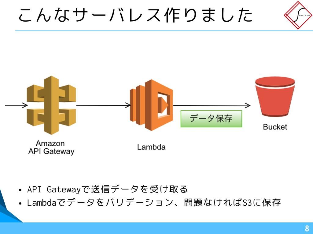 !8 こんなサーバレス作りました • API Gatewayで送信データを受け取る • Lam...