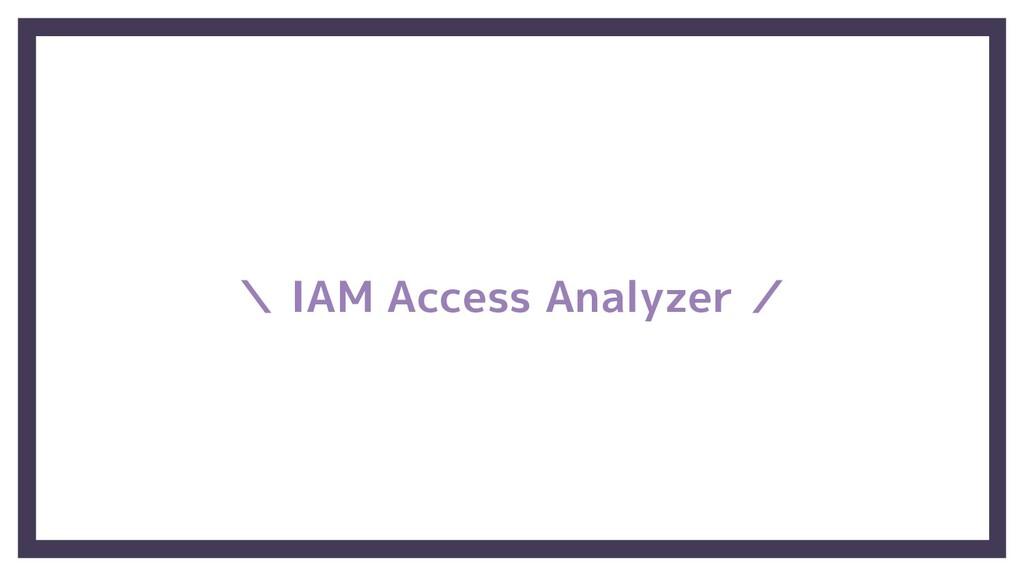 \ IAM Access Analyzer /