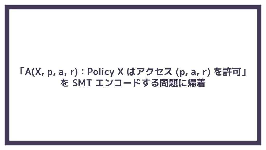 「A(X, p, a, r):Policy X はアクセス (p, a, r) を許可」 を ...