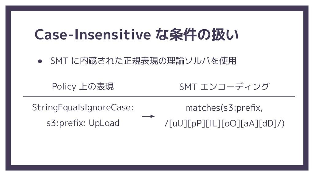 Case-Insensitive な条件の扱い ● SMT に内蔵された正規表現の理論ソルバを...