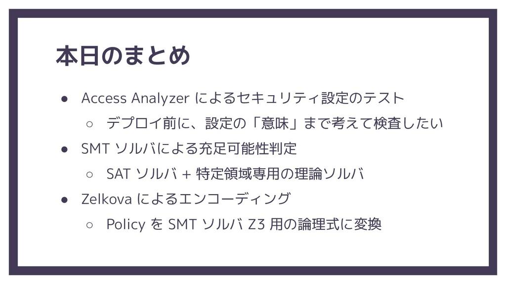 本日のまとめ ● Access Analyzer によるセキュリティ設定のテスト ○ デプロイ...