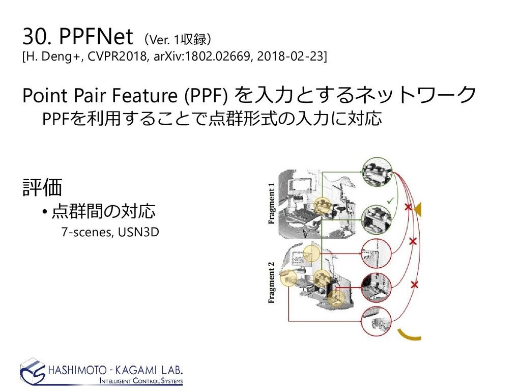 30. PPFNet(Ver. 1収録) [H. Deng+, CVPR2018, arXiv...