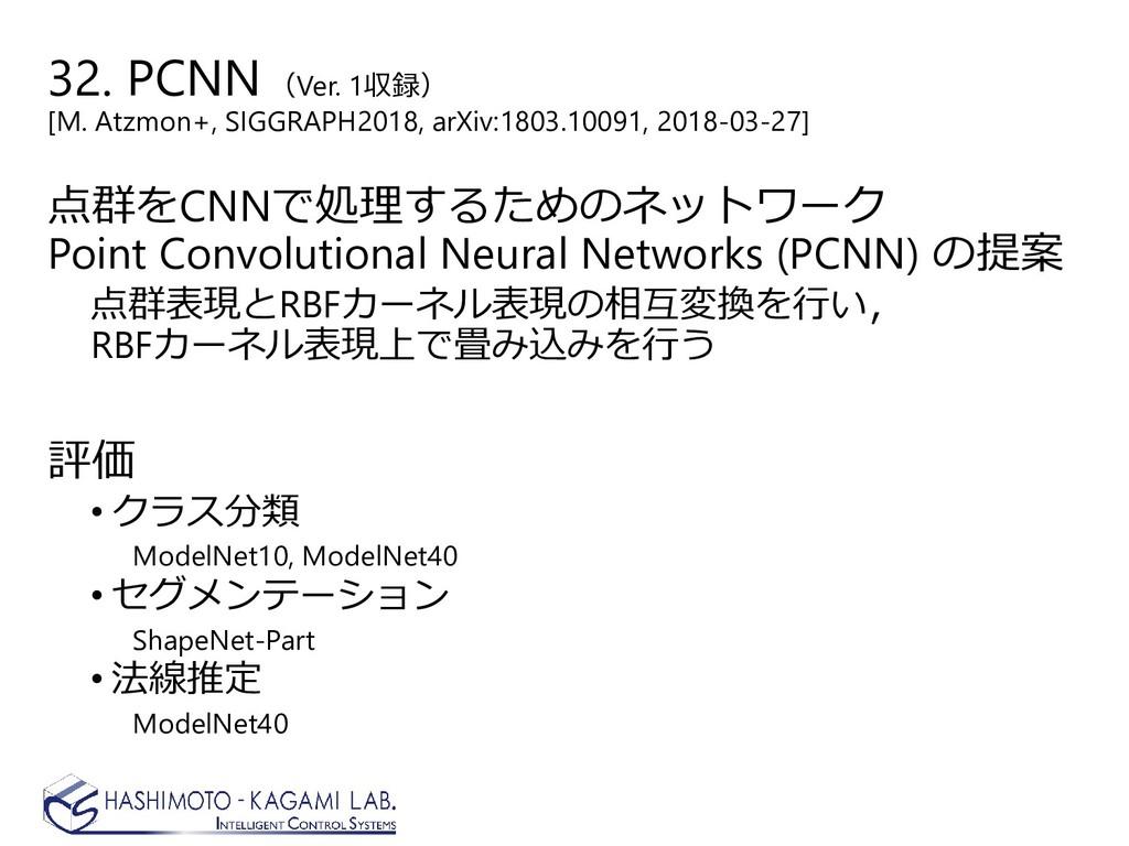 32. PCNN (Ver. 1収録) [M. Atzmon+, SIGGRAPH2018, ...